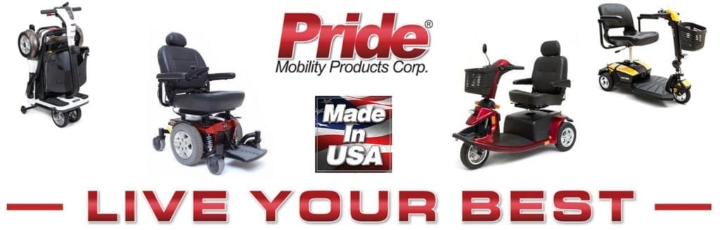Pride Mobility Scooters. At Scooter Sales and Rentals, we offer a quick and simple way for you or a loved one to enjoy complete mobility. Pictures of Scooters: Pride Go Chair, Pride Folding Go Go Scooter, Pride Victory 10, Pride Go Go Elite Traveler with CTS suspension. Pride Mobility Products Corporation Logo.
